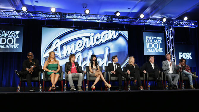 """""""American Idol"""" attends the Fox Winter TCA Tour at the Langham Huntington Hotel on Tuesday, Jan. 8, 2013, in Pasadena, Calif. (Photo by Todd Williamson/Invision/AP)"""