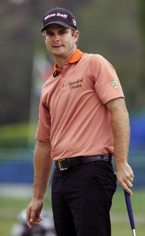 Kevin Streelman reacts after missing a birdie putt on the ninth green during the second round of the RBC Heritage golf tournament in Hilton Head Island, S.C., Friday, April 19, 2013. (AP Photo/Stephen Morton)