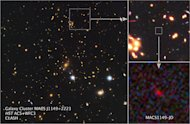 Big image at left: The many galaxies of a massive cluster called MACS J1149+2223 dominate the scene. Gravitational lensing brightened the light from distant newfound galaxy, known as MACS1149-JD (insets), some 15 times, bringing the remote obje