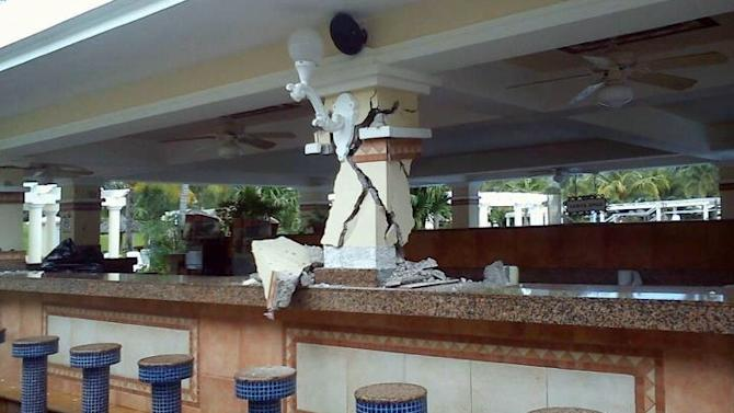 This photo posted to the Instagram account danielacordero, belonging to a person identified as Daniela Cordero, a bar is damaged inside the Hotel Riu after an earthquake in Guanacaste, Costa Rica, Wednesday, Sept. 5, 2012.  A powerful, magnitude-7.6 earthquake shook Costa Rica and a wide swath of Central America on Wednesday. (AP Photo/Daniela Cordero via Instagram)