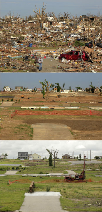 This three-photo combo shows a scene taken on May 27, 2011, top, July 21, 2011, center, and May 7, 2012, bottom, shows progress made in Joplin, Mo. in the year after an EF-5 tornado destroyed a large 