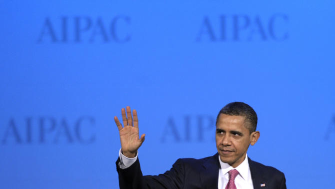 "President Barack Obama waves as he arrives on-stage to address the American Israel Public Affairs Committee (AIPAC) Policy Conference opening plenary session in Washington, Sunday, March 4, 2012. Speaking to the powerful pro-Israel lobby, Obama appealed to Israel for more time to let sanctions further isolate Iran. He said ""too much loose talk of war"" recently has only helped Tehran and driven up the price of oil. (AP Photo/Cliff Owen)"