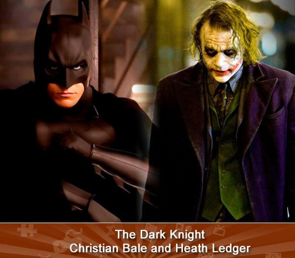 The Dark Knight -- Christian Bale and Heath Ledger