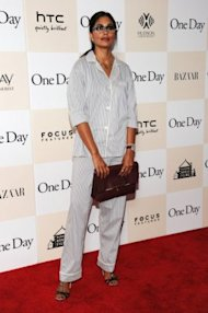 Designer Rachel Roy wears pajamas on the red carpet. Photo by Getty Images