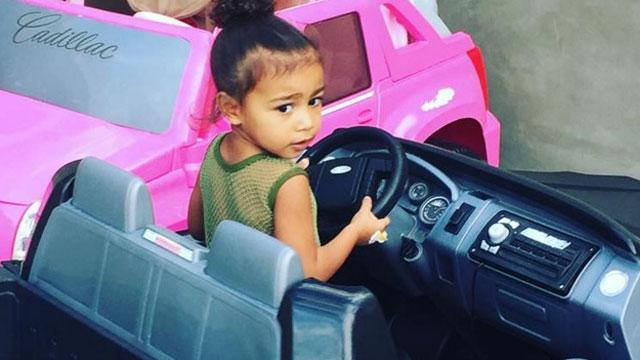 North West Looks Super Cute Practicing Her Parking Skills in a Mini Pickup Truck