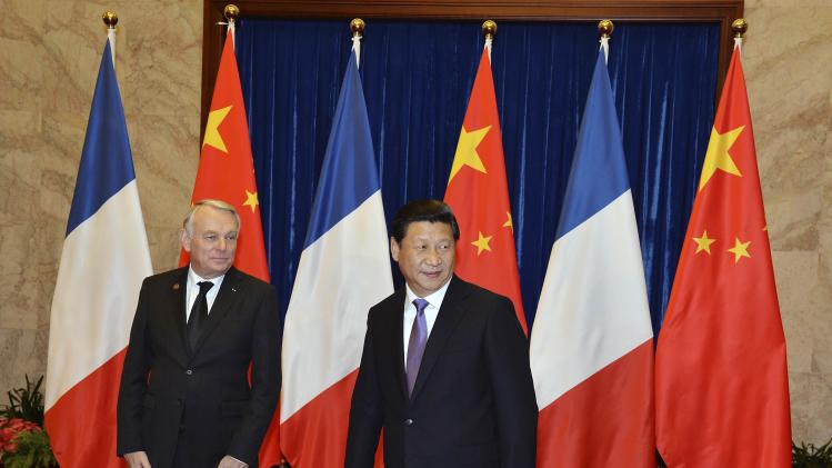 French Prime Minister Jean-Marc Ayrault and Chinese President Xi Jinping meet in Beijing