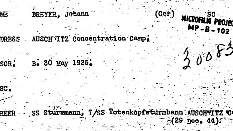 """This undated image obtained by The Associated Press from the National Archives through a Freedom of Information Act request shows a U.S. Army intelligence card on Johann """"Hans"""" Breyer, indicating he served in Auschwitz as of Dec. 29, 1944 _ four months after he said he deserted. The 87-year-old Philadelphia man is the target of a new German investigation on allegations of accessory to murder at Auschwitz, which comes after years of unsuccessful U.S. attempts to have him stripped of his American citizenship and deported. (AP Photo/National Archives)"""
