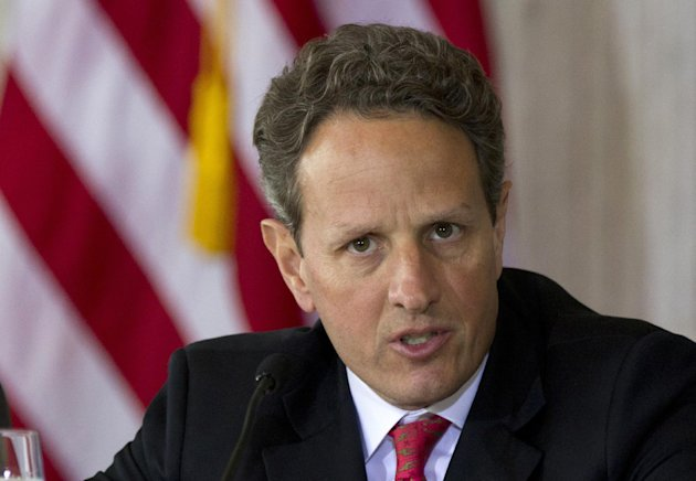 FILE - In this April 3, 2012 file photo, Treasury Secretary Timothy Geithner speaks at the Treasury Department in Washington. An aging population and an economy that has been slow to rebound are straining the long-term finances of Social Security and Medicare, the government's two largest benefit programs. Those problems are getting new attention Monday as the trustees who oversee the massive programs release their annual financial reports. (AP Photo/Manuel Balce Ceneta, File)