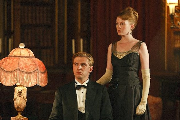 In this image released by PBS, Dan Stevens as Matthew Crawley, left, and Zoe Boyle as Lavinia Swire are shown in a scene from the second season of &quot;Downton Abbey.&quot; The 64th annual Primetime Emmy Awards will be presented Sept. 23 at the Nokia Theatre in Los Angeles, hosted by Jimmy Kimmel and airing live on ABC. (AP Photo/PBS, Carnival Film & Television Limited 2011 for MASTERPIECE, Nick Briggs)