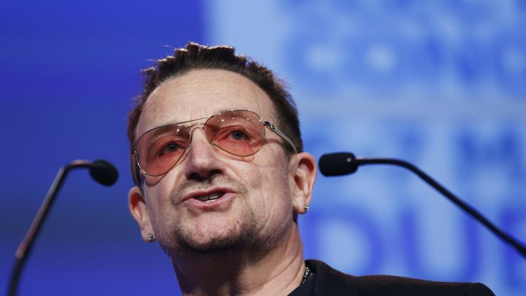 Singer Bono speaks at the European People's Party (EPP) Elections Congress in Dublin