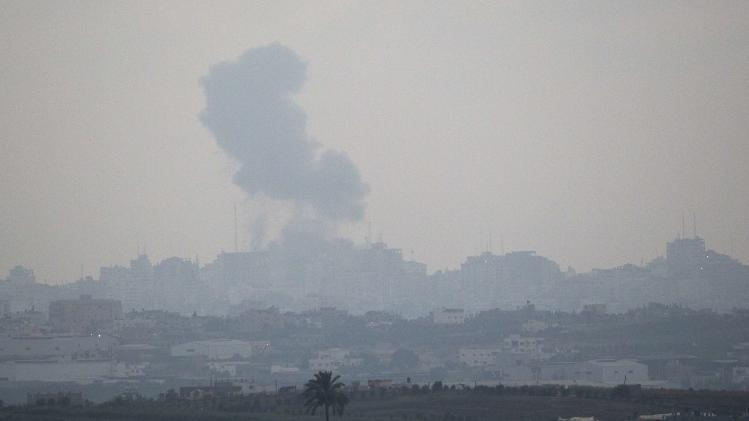 Smoke rises from the northern Gaza Strip after an Israeli strike as seen from the Israeli border