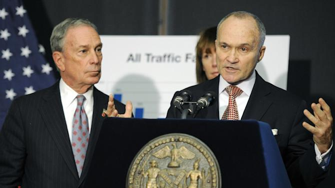 FILE - In this Dec. 29, 2011 file photo, New York City Police Commissioner Ray Kelly speaks at a news conference with New York Mayor Michael Bloomberg, in Brooklyn, N.Y. A secret New York Police Department program to spy on Muslim businesses, infiltrate mosques and monitor Muslim students on college campuses has ignited a debate over how to strike a balance between civil liberties and national security. The NYPD has vigorously defended the tactics, calling them legal and necessary. (AP Photo/Henny Ray Abrams, File)