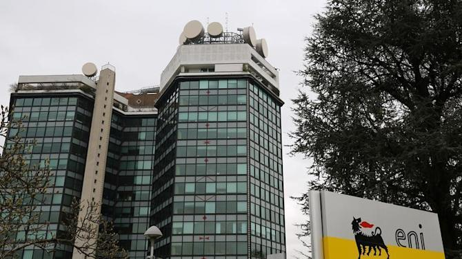 The logo of oil company Eni is pictured at its San Donato Milanese headquarters near Milan