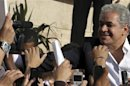 Egypt's former presidential candidate Sabahy greets supporters during a commemoration of the second anniversary of the death of Khaled Said in Alexandria