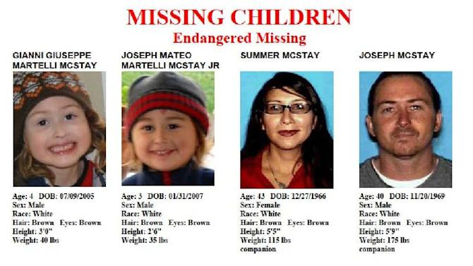 FILE - This file image provided by the San Diego Police Department shows members of the McStay family, who disappeared from their Fallbrook home more than three years ago. Investigators on Tuesday, April 9, 2013 said they believe the McStay's voluntarily went to Mexico. (AP Photo/San Diego Police Department, File)