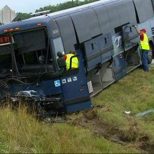 Stolen Car Collides With Greyhound Bus