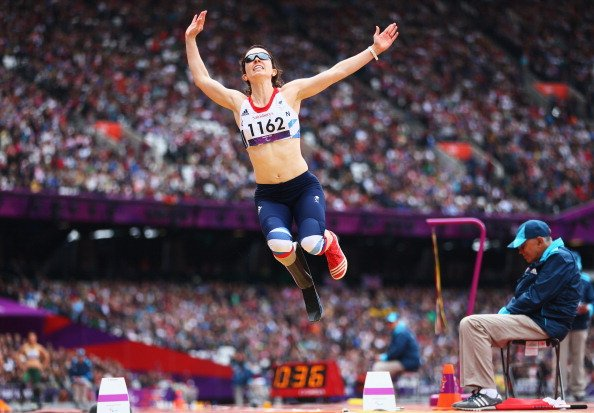 Stef Reid of Great Britain competes in the Women&amp;#39;s Long Jump - F42/44 Final on day 4 of the London 2012 Paralympic Games at Olympic Stadium on September 2, 2012 in London, England. (Photo by Micha