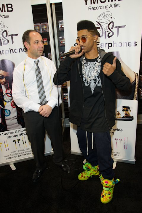 "Hip hop artist, ""Lil Twist"" seen at International CES 2013, on Thursday, January 10, 2013 in Las Vegas, NV for the debut of his new headphone collection ""Twist Swag Headphones by Nikura USA (Photo by"