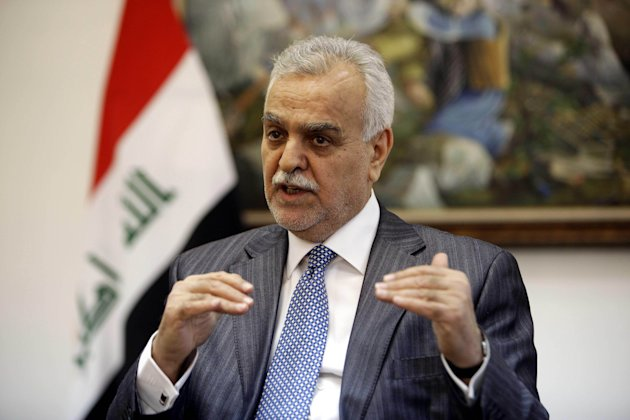 FILE - In this Friday, Dec. 23, 2011 file photo, Iraq's Sunni Vice President Tariq al-Hashemi speaks during an interview with the Associated Press near Sulaimaniyah, 160 miles (260 kilometers) northeast of Baghdad, Iraq. An Iraqi court found the nation's Sunni vice president guilty Sunday, Sept, 2012 of running death squads against security forces and Shiites, and sentenced him to death in absentia. (AP Photo/Karim Kadim, File)
