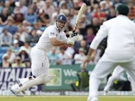 England's captain Andrew Strauss hits a shot during day two of the second international Test cricket match between England and South Africa at Headingley Carnegie in Leeds. England were 48 for no wicket when bad light ended play with 22 overs still due to be bowled