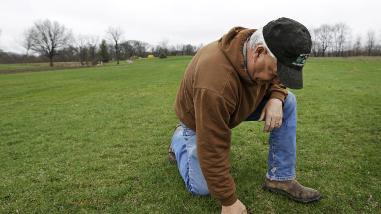 In this Wednesday, April 10, 2013 photo, farmer Clark Kelly digs a golf ball out of a fairway on the Hend-Co-Hills Golf Course, in Biggsville, Ill. Kelly purchased the course, which was in foreclosure, with plans to plow it into farm land. Across the Midwest, farmers are planting crops on almost any scrap of available land to take advantage of consistently high corn and soybean prices. (AP Photo/Charlie Neibergall)