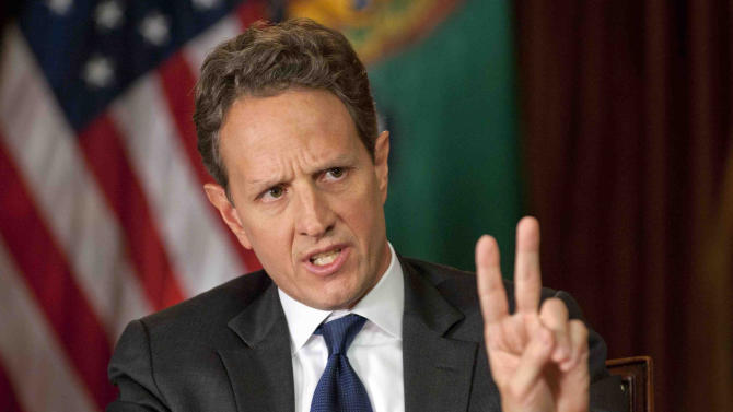 """In this Nov. 30, 2012, photo provided by CBS News Treasury Secretary Timothy Geithner answers questions about averting the """"fiscal cliff"""" on an episode of  """"Face the Nation"""" on Sunday, Dec. 2, 2012  Geithner said Republicans have to stop using fuzzy """"political math"""" and say how much they are willing to raise tax rates on the wealthiest 2 percent of Americans and then specify the spending cuts they want. (AP Photo/CBS News, Chris Usher)"""