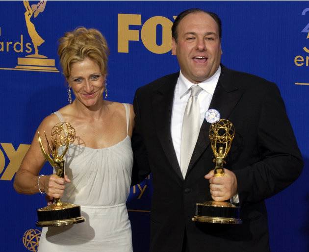 FILE - This Sept. 21, 2003 file photo shows actors Edie Falco, left, and James Gandolfini  with the awards they won for outstanding lead actress and actor in a drama series for their work on The Sopra