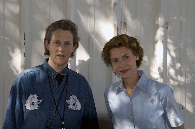 "Temple Grandin and Claire Danes behind the scenes in ""Temple Grandin."""