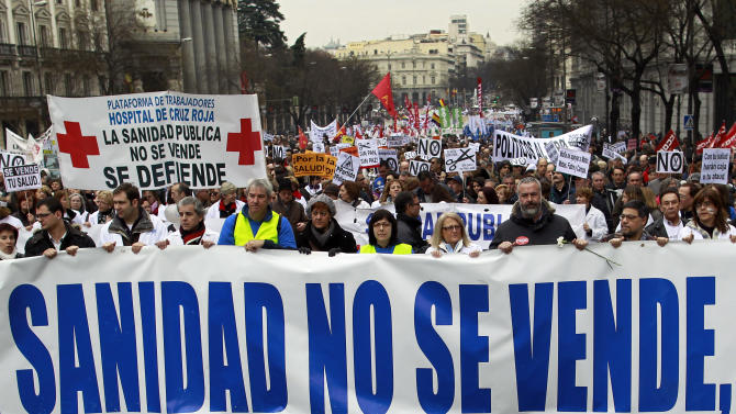 Big protests in Spain against health care reforms