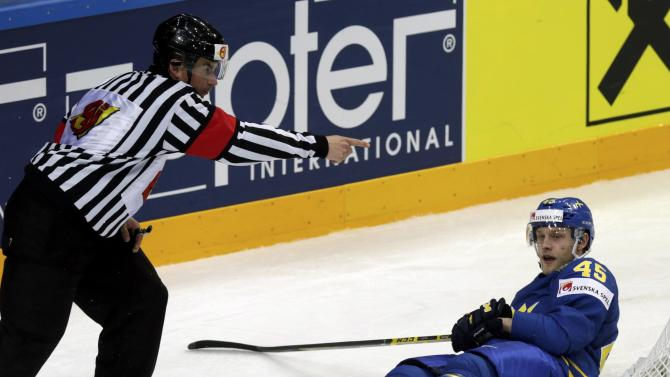 Sweden's Moller reacts after scoring against Latvia during their Ice Hockey World Championship game at the O2 arena in Prague