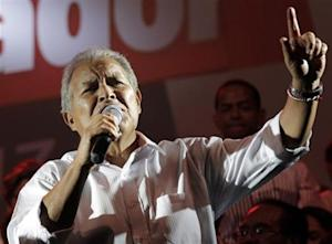FMLN presidential candidate Sanchez Ceren gives a speech to his supporters, after official election results were released, in San Salvador