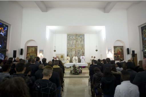 Pope Francis leads a mass in the church of Casal del Marmo youth prison in Rome