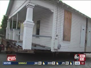 Historic house being moved
