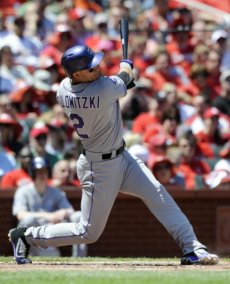 Colorado Rockies' Troy Tulowitski (2) watches his three-run home run against the St. Louis Cardinals in the third inning in a baseball game on Sunday, May 12, 2013, at Busch Stadium in St. Louis. (AP Photo/Bill Boyce)