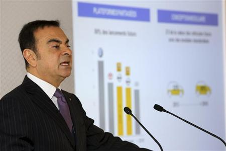 Carlos Ghosn, Chairman and Chief Executive Officer of Renault-Nissan Alliance, attends Renault's 2013 annual results presentation at their headquarters in Boulogne-Billancourt