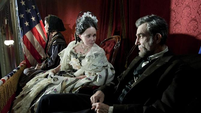 """This image released by DreamWorks II Distribution Co., LLC and Twentieth Century Fox Film Corporation shows Sally Field and Daniel Day-Lewis appear in a scene from """"Lincoln.""""  (AP Photo/DreamWorks II Distribution Co., LLC and Twentieth Century Fox Film Corporation, David James)"""