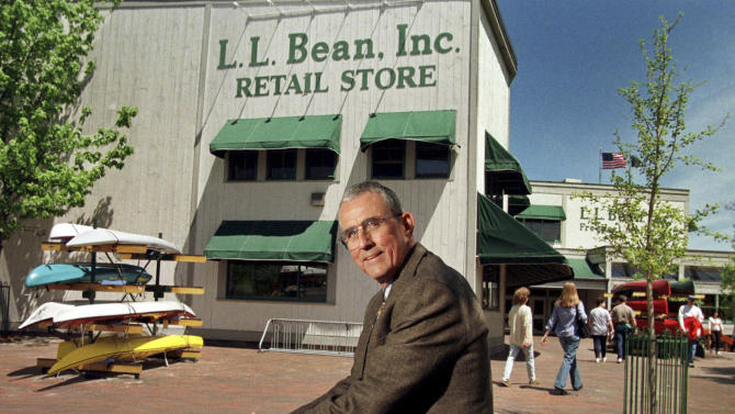 FILE - In this May 1999 file photo, Leon A. Gorman poses for a photo outside one of the L.L. Bean stores in Freeport, Maine.  The company informed it's workers Monday, May 20, 2013, that Gorman, grandson of the company's founder, L.L. Bean, is retiring as chairman after more than a half-century as chairman or CEO of the retailer. (AP Photo/Robert F. Bukaty, File)