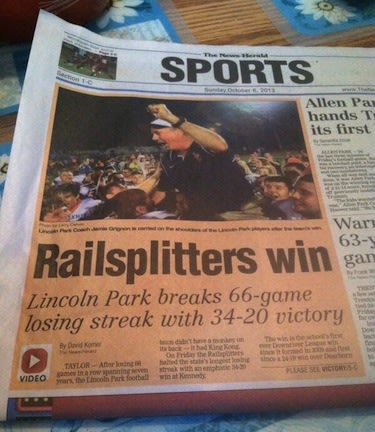 The front page of The News-Herald in Southgate, Mich., after Lincoln Park snapped a 66-game losing streak -- Twitter