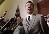 Rep. Jeb Hensarling, R-Texas, co-chair of the supercommittee, tells reporters outside his office that the deficit reduction panel would work over the weekend as the deadline for its work nears, on Capitol Hill in Washington, Friday, Nov. 18, 2011. (AP Photo/J. Scott Applewhite)