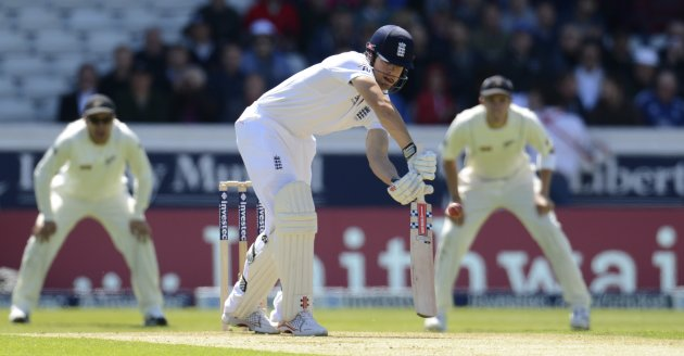 England's Cook edges the ball before being caught for 34 runs during the second test cricket match against New Zealand at Headingley cricket ground in Leeds