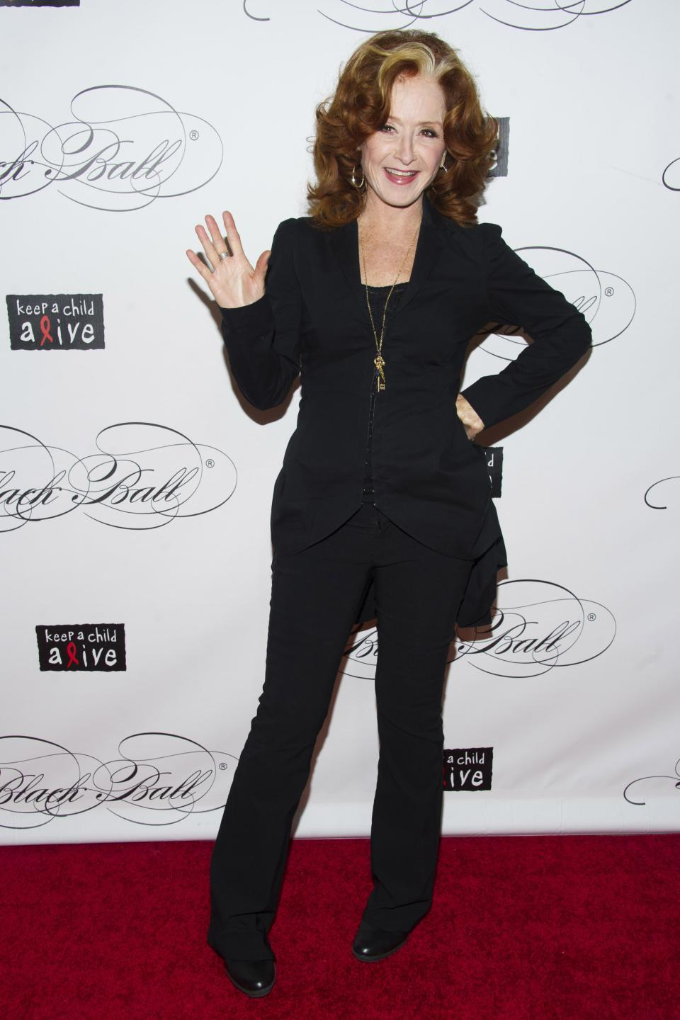 Bonnie Raitt attends Keep a Child Alive's ninth annual Black Ball on Thursday, Dec. 6, 2012 in New York. (Photo by Charles Sykes/Invision/AP)