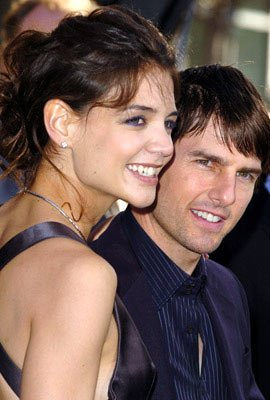 Katie Holmes and Tom Cruise at the Hollywood premiere of Warner Bros. Pictures' Batman Begins