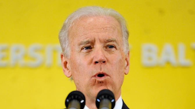 Vice President Joe Biden speaks during a ceremony to mark the opening of the John and Frances Angelos Law Center at the University of Baltimore Tuesday, April 16, 2013 in Baltimore. Biden's topics included the recent bombing in Boston and gun control. (AP Photo/Steve Ruark)