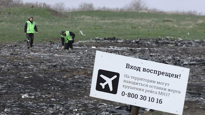 Investigators work at the site of the Malaysia Airlines Boeing 777 plane crash near the village of Hrabove