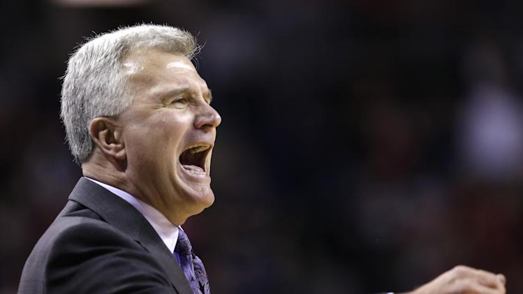 Kansas State head coach Bruce Weber directs his team against Gonzaga in the second half of an NCAA college basketball game, Saturday, Dec. 15, 2012, in Seattle. Gonzaga won 68-52. (AP Photo/Elaine Thompson)