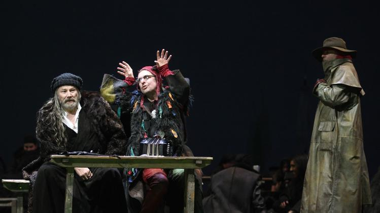 "Brandauer performs as Lear, Maertens as Fool and Samarovski as Earl of Kent during a dress rehearsal of ""King Lear"" at Burgtheater theatre in Vienna"
