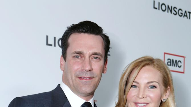 Jon Hamm and Jennifer Westfeldt at the AMC Season 6 Premiere of Mad Men , on Wednesday, March, 20, 2013 in Los Angeles. (Photo by Alexandra Wyman/Invision for AMC/AP Images)