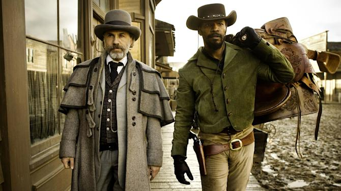 """FILE - This undated publicity image released by The Weinstein Company shows, from left, Christoph Waltz as Schultz and Jamie Foxx as Django in """"Django Unchained,"""" directed by Quentin Tarantino.  The Weinstein Co. has asked a toy maker to discontinue a line of """"Django Unchained"""" action figures after receiving complaints that they were offensive. The studio said Friday, Jan. 18, 2013, that such collectibles have been created for all of director Quentin Tarantino's films, including """"Inglourious Basterds,"""" and that they were meant for people 17 and older, the audience for the film.  (AP Photo/The Weinstein Company, Andrew Cooper, SMPSP, File)"""