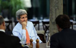 U.S. Secretary of State John Kerry, center, National …