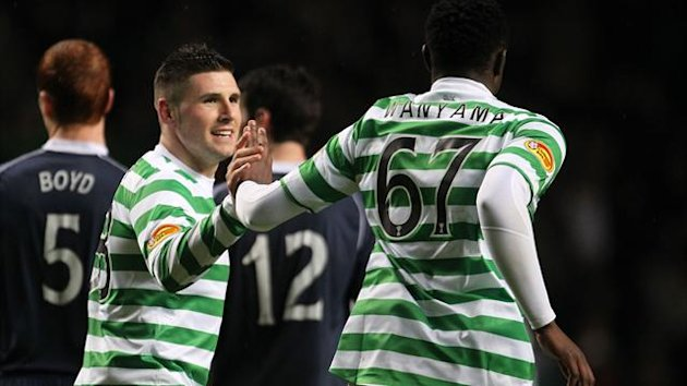 Gary Hooper, left, scored a second-half brace against Ross County